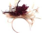 Nude Salmon Pink and Burgundy Wine Fascinator on Headband Alice Band UK Wedding Ascot Races Loop