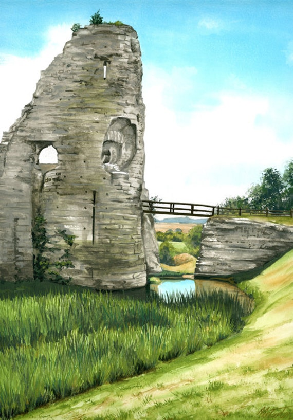 Pevensey Castle, mounted print signed