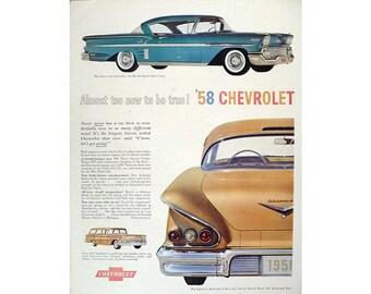 vintage newspaper advertisement for a 1958 Chevrolet Bel Air - 12