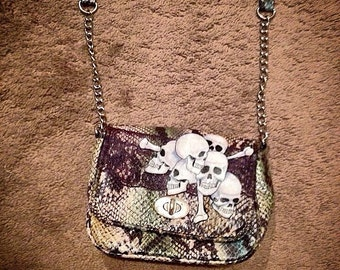 Upcycled Faux Snakeskin Skull purse