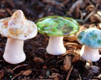 Three hand crafted ceramic toadstools - T92