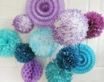 FROZEN inspired Pompoms, Frozen Birthday, Frozen Party Decorations, Purple & Aqua Decorations, Tissue paper pompoms, Purple Pompoms
