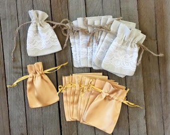 Lace and Linen and Gold Satin Drawstring Bags - 3 x 4 Inches-  Favor Bag- Party Supply- Gift Card Holder- Jewelry Organization Pouch