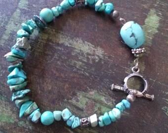 Vintage Turquoise Chunk Toggle Bracelet