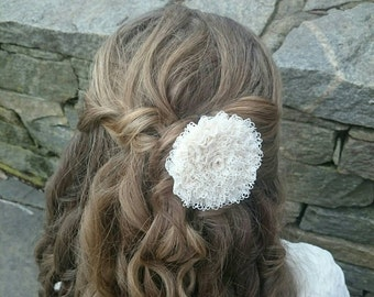 Lace Barrette ~ Rosette Hair Clip ~Flower accessory