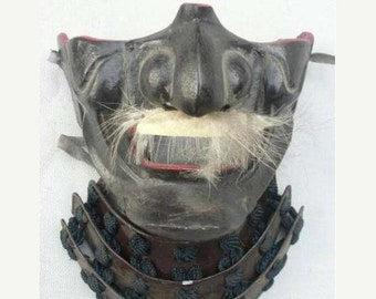 Japanese antique samurai mask made by lacquer 100 years old