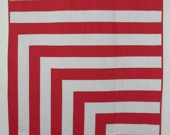 Modern Red and White Throw Quilt