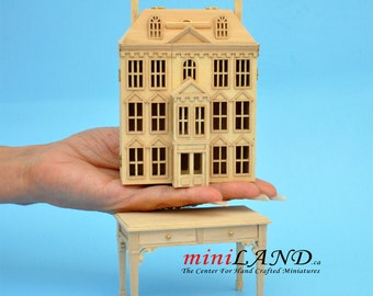 Victorian Dollhouse for dollhouse with table unfinished unpainted 1:144 miniature house for 1/12 rooms