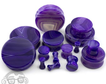Purple Line Agate Stone Plugs - Double Flare (8G - 32mm) Sold In Pairs - New!