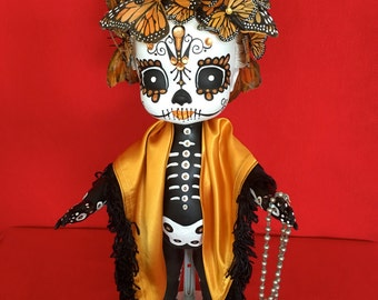 Mona Ark is a OOAK  Day of the Dead baby art doll