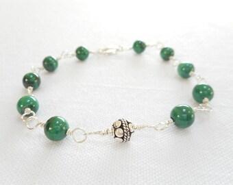 Malachite Bracelet, Genuine Gemstone Bali Sterling Silver Jewelry, Green Stone Bead Bracelet, Wire Wrapped Link Bracelet, Gift for Her