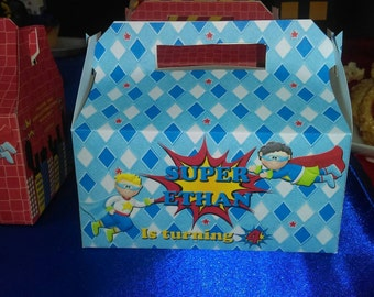 Super Heroes Personalized Party Favor Box ( SKU# SBHFB1 )