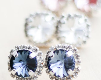 Silver Swarovski Halo Stud - You Pick the Color - Bridesmaid Jewelry - Something Blue Post Earrings - Crystal Earings - Bridesmaid Gift