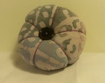 Handmade Pincushion in Recycled Lilac Batik Fabric with recycled button