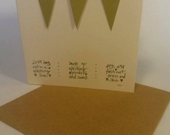 Handmade Hanging Hearts Greetings Card