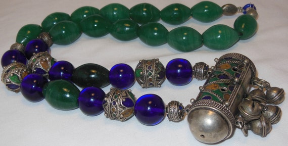 Old Berber Bead Yemen Koran Prayer Box Necklace Amazonite Green Quartz Cobalt Peking Glass Signed