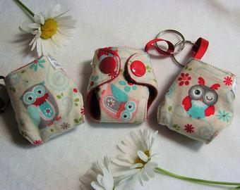 Owls print Basic Cloth Diaper Keychain diaper ornament, Diaper key chain diaper key fob