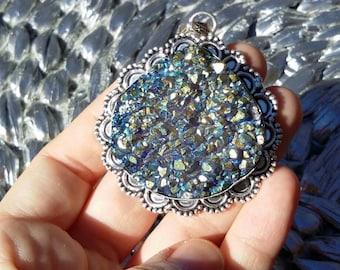 On sale. Titanium druzy, silver pendant necklace.
