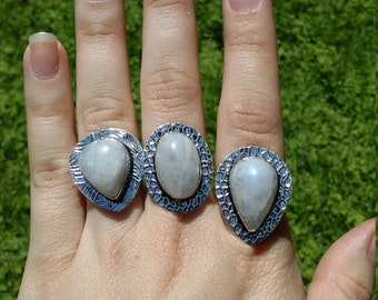 Moonstone rings, 3 sizes.