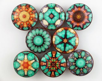 Set of 8 Cairo Mandala Print Cabinet Knobs