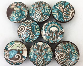 Set of 8 Turquoise and Brown Paisley Cabinet Knobs