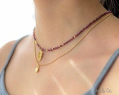 Garnet and Gold Necklace with Feather Charm. Red and Gold Chocker.