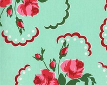 Retro Rose Floral Fabric - Francie by MIchael Miller CS 6851 Aqua - 1/2 yard