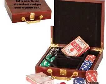 Poker set, personalized gift set,  custom poker set, gift for him, poker player,  gift for Dad,  personalized card set,  poker chips, cards