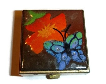 Enamel Butterfly Pill Box Vintage Flower Pillbox Case 70s Blue Green Orange Floral 1970s Pill Container Tiny Trinket Medicine Snuff Box Tin