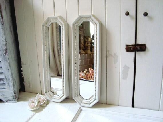 Cottage white vintage long mirror set antique white ornate for Long antique mirror