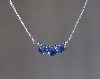 Blue Kyanite Necklace - September Birthstone - Sterling Silver