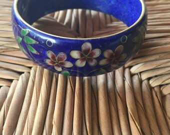 Vintage enamel floral bangle stunning navy blue bohemian gypsy traveller