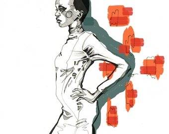 Alek Wek: Fashion Illustration/Art Print