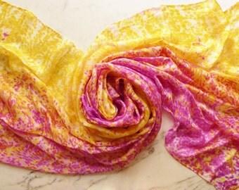 Silk Veil Bellydance Veil Yellow and Pink Silk Veil Petite Size