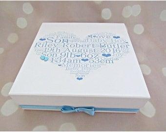 Gorgeous large personalised new baby boy keepsake memory box memory box keepsake box & Baby boy keepsake | Etsy Aboutintivar.Com