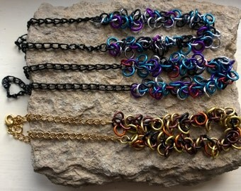 Shaggy Loops and chain necklace, your choice of colours