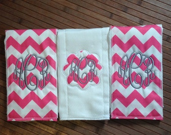 Set of 3 Personalized Pink Chevron burp cloths/Monogrammed Burp Cloths/Baby Shower Gifts/For The Baby