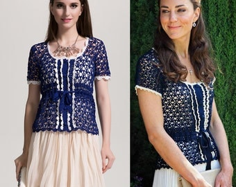 Kate Middleton/ Top/ Crochet Top/ Crochet Blouse/ Custom made/ Made to measure/All Sizes