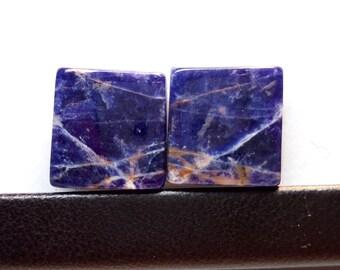 Square Sodalite 15x14.5x4mm - Natural Sodalite Cabochon Pair Gemstone - Fabulous Sodalite Pairs Stone - Loose Sodalite Gemstones