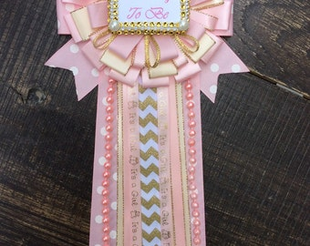 pink and gold mommy to be pin little princess baby shower pearls pink and