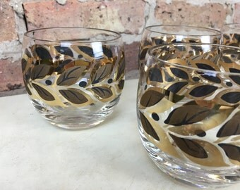 Golden Leaves Roly Poly Glasses
