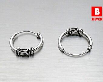 925 Sterling Silver Oxidized Earrings, Hoop Earrings, Size 12 x 1.2 mm  (Code : E63A)