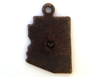 2x Antique Brass / Brown Patina Blank Arizona State Charms w/ Hearts - M073/H/AB-AZ