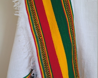 Handwoven  Cotton Ethiopian Rasta Color Scarf, Head Wrap