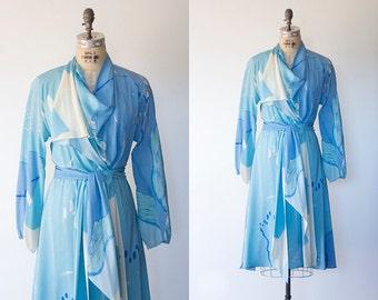 HALSTON dress | 1970s silk wrap dress with blue watercolor print by Halston