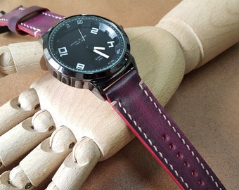 Handmade Genuine Leather Watch (Wax Pink)