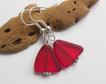 New Red Beach Glass Earrings, Red Seaglass Earrings, Red Seaglass Jewelry, Red Sea Glass Earrings. Sterling Silver Option. FREE SHIPPING