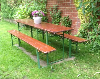 Vintage industrial dining table with two benches