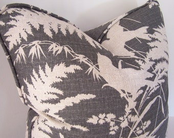 Decorative Pillows, Charcoal Gray and Flax Birds, Designer Pillows, Pillows with Piping, Gray Pillows, Pillow Covers, Accent Pillows
