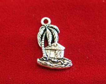 "5pc ""beach cabin"" charms in antique silver style (BC869)"